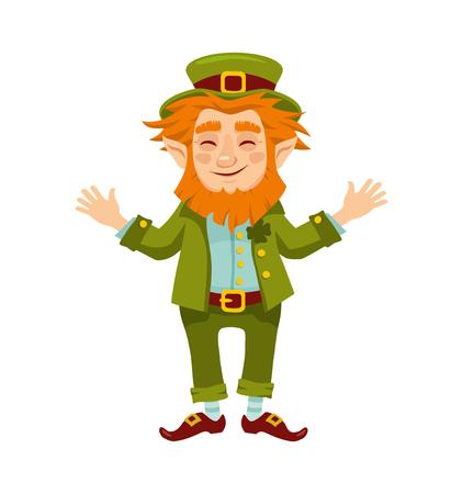 Happy smiling Leprechaun. Isolation on white background. Vector illustration Stock Illustratie