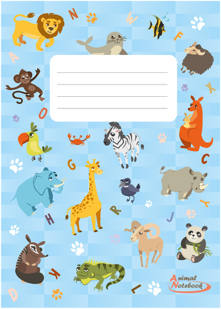 Notebook with different animals. Animals series notebook. Vertical background. Vector Illustration