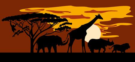 Silhouettes of animals on the background of Savannah. Lion, Rhino, giraffe, elephant, monkey. Horizontal background. vector