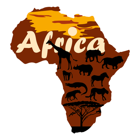 Black silhouettes of animals on the background of the contour of Africa. Vector 2D illustration