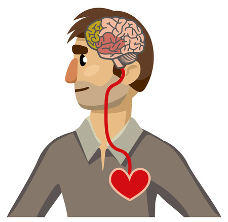Portrait of a man in profile. Brain-heart connection. Isolation on white background. Vector illustration
