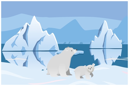 Polar bear and bear. Arctic landscape with icebergs. Vector 2D illustration