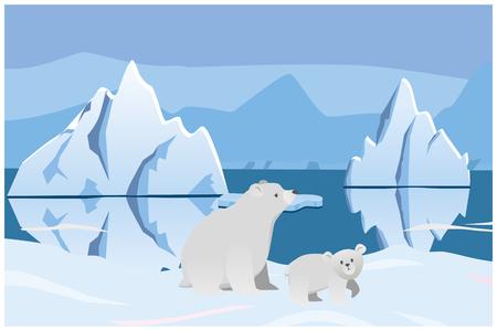 IJsbeer en beer. Arctisch landschap met ijsbergen. Vector 2D illustratie