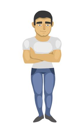 Cartoon man on white background. insulation. vector 2D illustration Illustration