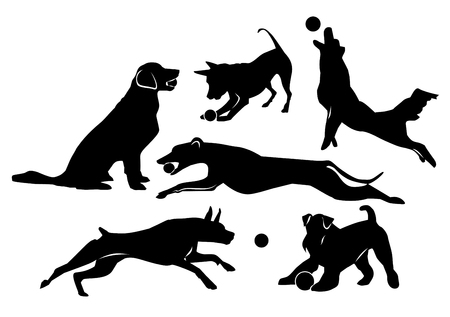 Set of cheerful dogs. Black isolated silhouettes on white background. Vector Illustration