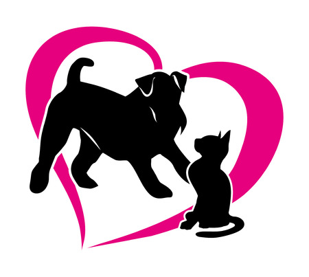 Silhouette of a cat and a dog. Isolated illustration on white background. Vector 2D Illustration