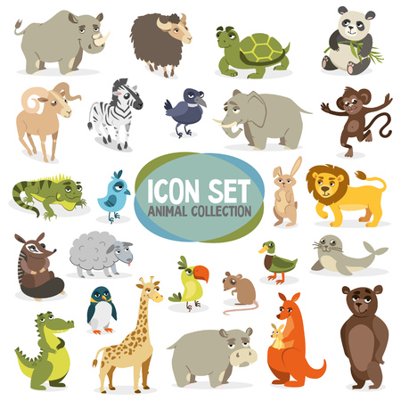 Large collection of different animals and birds. Cute cartoon animals on white background. Insulations. Vector Illustration