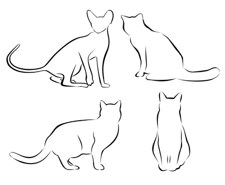 Set of cat circuits. Isolated. Simple vector illustration