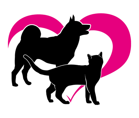 Black silhouette of a cat and a dog on the background of Magenta heart. Isolation vector on white background  Vettoriali