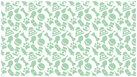 pet attributes. green objects on white horizontal background. feed, play, care. vector Illustration
