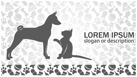 cat and dog on the background of veterinary attributes. blank card. vector Illustration
