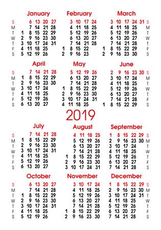 Calendar grid 2019. Vertical alignment of numbers. Sunday-Saturday. Vector