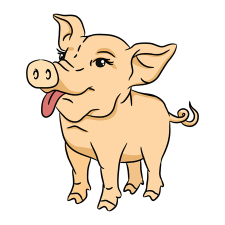Funny cartoon pig. Isolated vector 2D illustration
