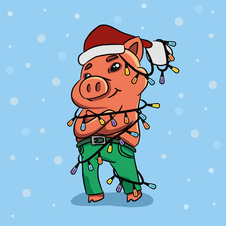 Funny cartoon pig in a garland and hat. Holiday card. Vector illustration Illustration