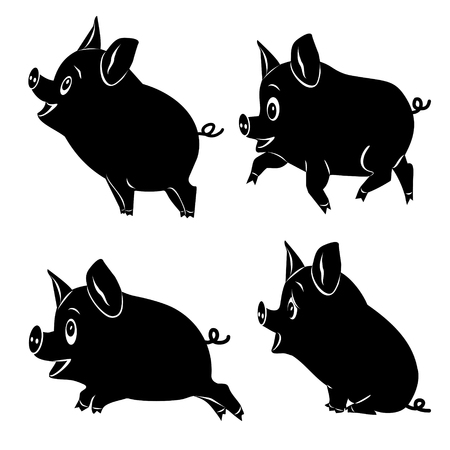 Four cute cartoon pigs. Set of black silhouettes. Vector 2D illustration