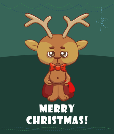 A cute Christmas deer is holding a bag with gifts. Vector 2D illustration