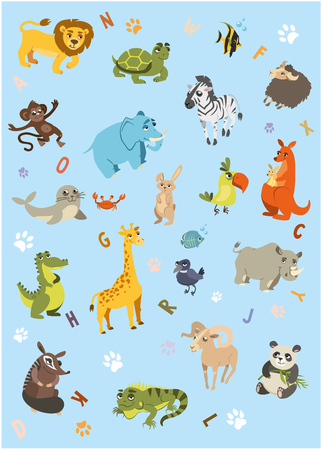 Blue vertical background with animals and different letters. Vector 2D illustration Illustration