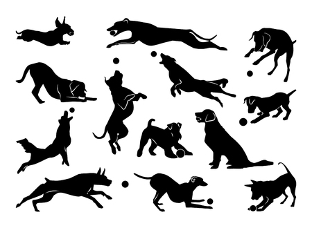Set of pet silhouettes. Dogs with ball. Vector illustration Vettoriali