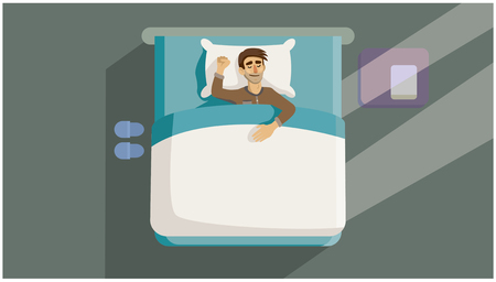 Un giovane dorme nel letto. Sfondo grigio. Illustrazione vettoriale 2D