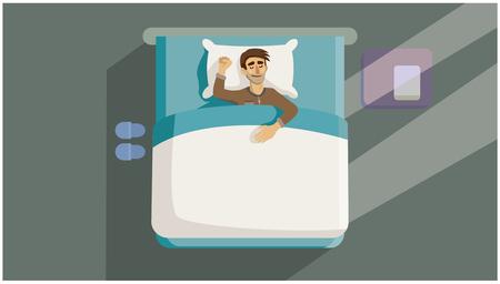 Un jeune homme dort dans son lit. Fond gris. Illustration vectorielle 2D