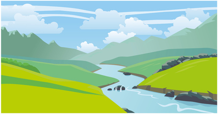Beautiful natural landscape, mountains, river. Vector 2D illustration Stock Illustratie