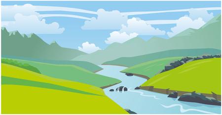 Prachtig natuurlijk landschap, bergen, rivier. Vector 2D illustratie Vector Illustratie