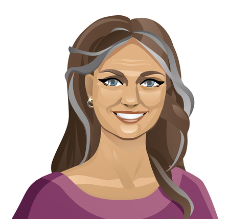 Beautiful old woman. Isolated portrait. Vector 2D illustration