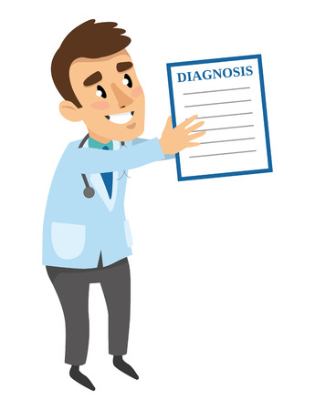The doctor shows the paper with the diagnosis. Cartoon isolated character. Vector 2D illustration