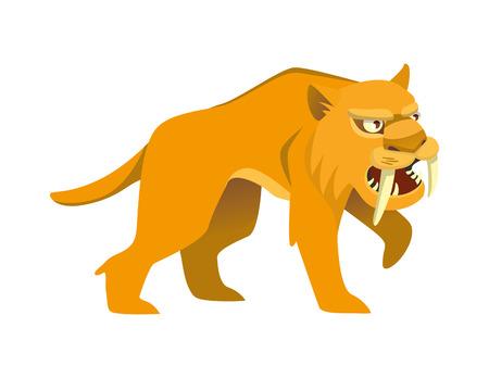 Tigre dai denti a sciabola su sfondo bianco. Illustrazione vettoriale 2D Vettoriali