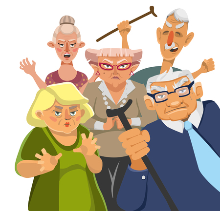 Grumpy old men on a white background. Vector 2D illustration