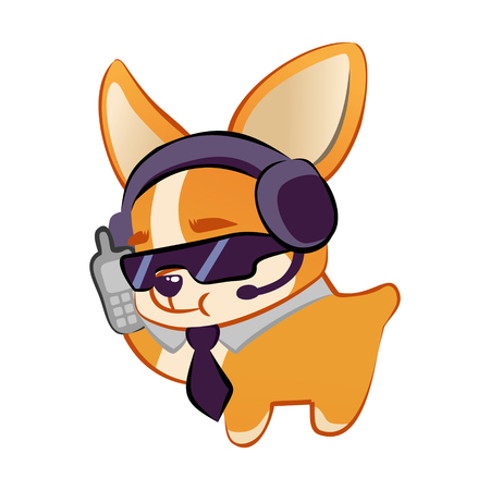Cute Corgi spy with a phone. Dog on white background. Flat vector illustration
