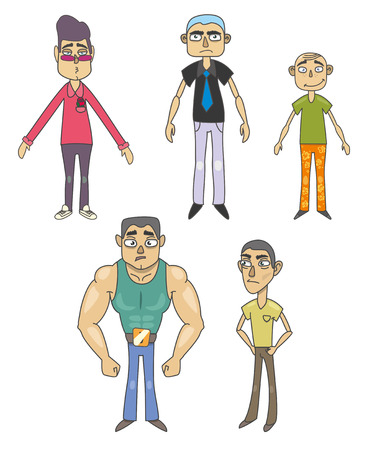 Set of funny men. Isolation on a white background. Vector
