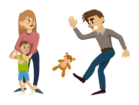 child is frightened and cuddles up to his mother. A man kicks a toy. vector flat illustration
