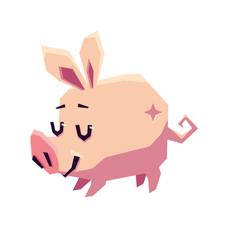 Stylized pink pig on a white background. Vector flat illustration Illustration