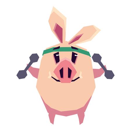 Cute piggy se dedica a los deportes. Ilustración vectorial plana