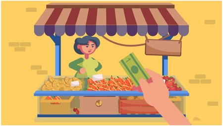 A nice woman sells vegetables. Food stalls. Vector flat illustration