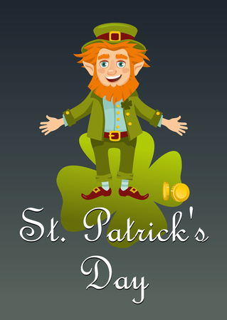 Leprechaun congratulates St. Patricks day. Postcard. Vector flat illustration