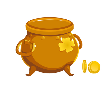 Golden pot of leprechaun on a white background. Vector flat illustration Illustration