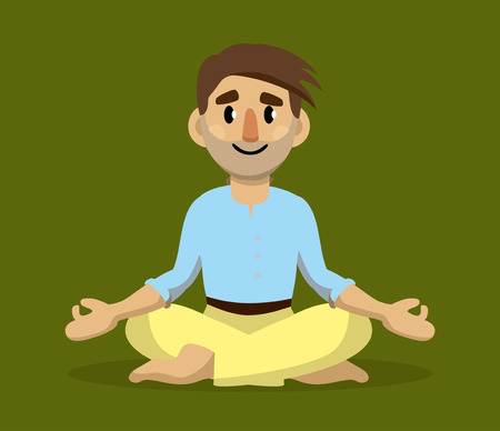A man sits on the floor and meditates. Yoga. Vector flat illustration