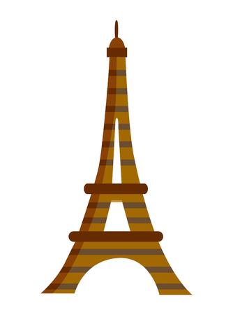 Eiffel tower in Paris. European landmark. Travel. Vector flat illustration Ilustracja