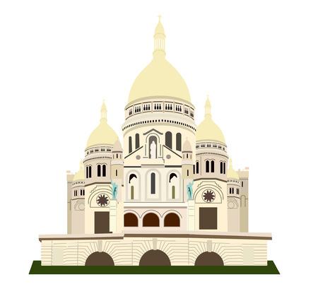 the Basilique de Sacre Coeur. European landmark. Vector isolated flat illustration