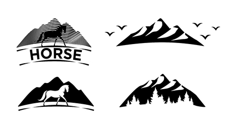 Set of black icons. Horse, mountain, forest. Vector isolated illustration 일러스트