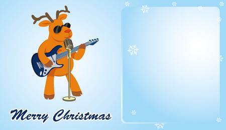 Christmas card. Reindeer guitarist sings. Blue horizontal background. Vector illustration