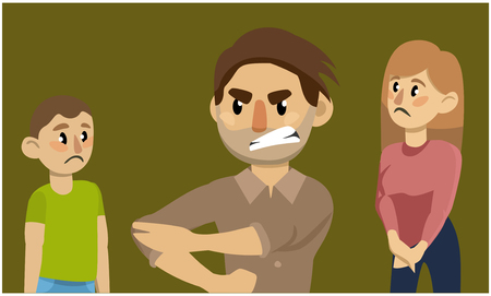 Father threatening his family. Family conflict. Vector flat illustration