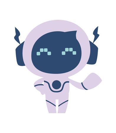 Little cheerful robot on a white background. vector flat illustration 일러스트