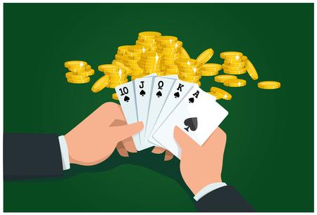 poker match. male hands holding card. Royal flush. vector illustration Illusztráció