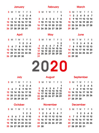 Simple calendar 2020 year. Sunday, Saturday. Vertical background. Vector 2D illustration on white background