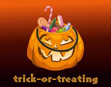 Halloween postcard. Trick-or-treating. Vector flat illustration