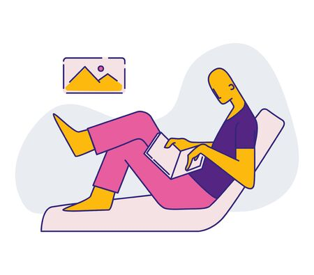 a man sits on a sofa and works on a computer. color icon. vector flat illustration Illusztráció