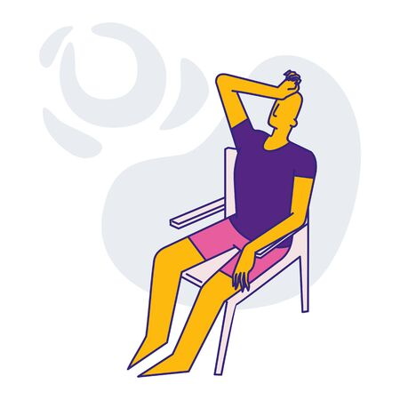 a man sits on a chair and looks up. color icon. vector flat illustration